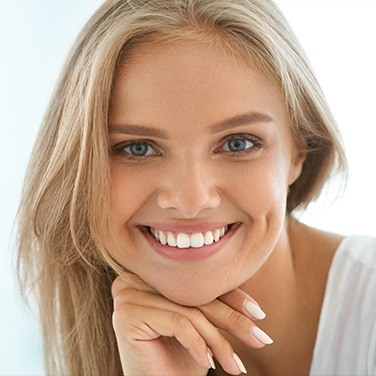 woman with white smile smiling